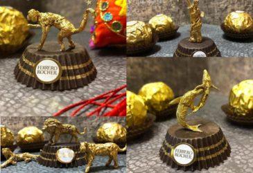 Китайский художник создает миниатюрные скульптуры из упаковки «Ferrero Rocher»